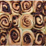 Students bake delicious cinnamon rolls at Baking Club.