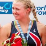 Collins after capturing silver at the 2014 Junior World Rowing Championships in Hamburg, Germany.