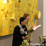 """Lin Tianmiao, P'15 presents her sculpture, """"The Golden Age,"""" Dr. Curtis."""