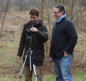 Josh Tebeau and his father working behind the scenes of his film. Provided by Josh Tebeau.