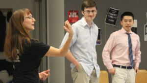 Aquila Theater conducts a Shakespeare class in the Acting Lab. Maddie Blake '17