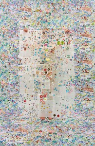 Lost in My Life (Fruit Stickers with Wax Paper), 2014, by Rachel Perry Welty