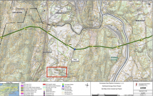 The dark green line indicates the NED pipeline running from Wright, NY to Dracut, MA Light green lines indicate compressor stations The red box indicates Deerfield Academy. Map provided by David Kieth