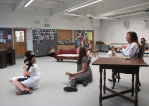 The cast rehearses a scene in the acting lab. By Hae June Lee