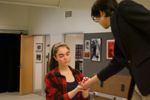 Liam Gong '16 and Valentina Connell '16 rehearse a scene