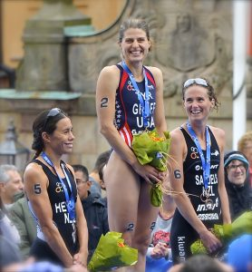 Provided by Wikimedia Commons. Sarah True '99 stands proudly in Stockholm, Sweden as champion of the ITU World Triathlon Series.