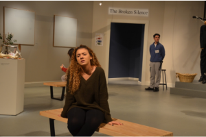 "Expressing the turbulent emotions of her character in the play ""Museum"", Kaycie Sweeney`17 shows off her expertise and dedication to bringing her role to life. Credit: Olivia Jones"